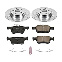 Rear Cross Drilled Brake Rotors Ceramic Pads Fit 13-15 Ford Fusion Base