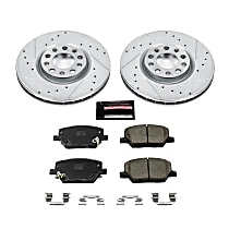 Power Stop® K7299 Front Z23 Daily Carbon-Fiber Ceramic Brake Pad and Drilled & Slotted Rotor Kit