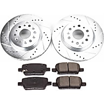 Power Stop® K7411 Rear Z23 Daily Carbon-Fiber Ceramic Brake Pad and Drilled & Slotted Rotor Kit