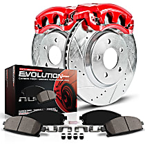 Powerstop Front Brake Disc and Caliper Kit - Z23 Evolution Sport Performance 2-Wheel Set, Cross Drilled And Slotted, For Models With Single Rear Wheels