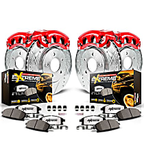 Powerstop Front And Rear Brake Disc and Caliper Kit - Z36 Extreme Truck And Tow Performance 4-Wheel Set, Cross Drilled And Slotted, For Models With Single Rear Wheels