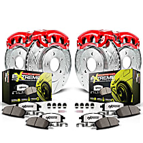 KC2718-26 Front and Rear Z26 Muscle Carbon-Fiber Ceramic Brake Pad, Drilled & Slotted Rotor and Caliper Kit