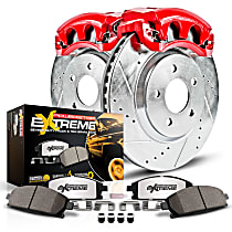 Powerstop Rear Brake Disc and Caliper Kit - Z36 Extreme Truck And Tow Performance 2-Wheel Set, Cross Drilled And Slotted