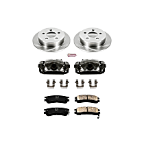 Rear OE Stock Replacement Low-Dust Ceramic Brake Pad, Rotor and Caliper Kit