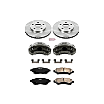 Front OE Stock Replacement Low-Dust Ceramic Brake Pad, Rotor and Caliper Kit