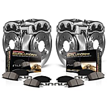 Front and Rear OE Stock Replacement Low-Dust Ceramic Brake Pad, Rotor and Caliper Kit