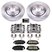 KCOE6955 Front OE Stock Replacement Low-Dust Ceramic Brake Pad, Rotor and Caliper Kit