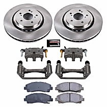 KCOE7214 Front OE Stock Replacement Low-Dust Ceramic Brake Pad, Rotor and Caliper Kit