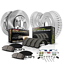 KOE15199DK Front and Rear OE Stock Replacement Low-Dust Ceramic Brake Pad, Rotors with Drum + Shoe Kit