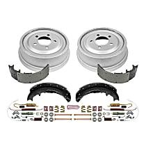 KOE15265DK Rear OE Stock Replacement Low-Dust Ceramic Brake Pad, Rotors with Drum + Shoe Kit