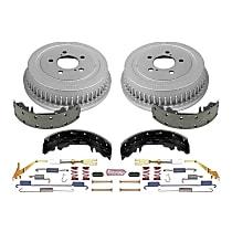 KOE15267DK Rear OE Stock Replacement Low-Dust Ceramic Brake Pad, Rotors with Drum + Shoe Kit
