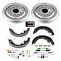 KOE15272DK Rear OE Stock Replacement Low-Dust Ceramic Brake Pad, Rotors with Drum + Shoe Kit