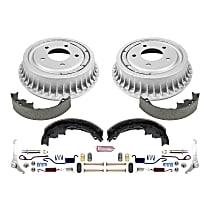 KOE15292DK Rear OE Stock Replacement Low-Dust Ceramic Brake Pad, Rotors with Drum + Shoe Kit