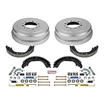 KOE15314DK Rear OE Stock Replacement Low-Dust Ceramic Brake Pad, Rotors with Drum + Shoe Kit