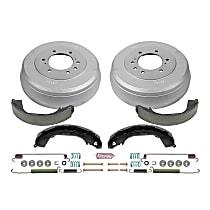 KOE15319DK Rear OE Stock Replacement Low-Dust Ceramic Brake Pad, Rotors with Drum + Shoe Kit
