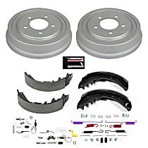 KOE15349DK Rear OE Stock Replacement Low-Dust Ceramic Brake Pad, Rotors with Drum + Shoe Kit