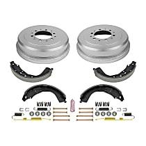 KOE15373DK Rear OE Stock Replacement Low-Dust Ceramic Brake Pad, Rotors with Drum + Shoe Kit