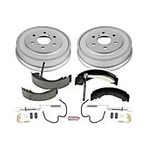 KOE15394DK Rear OE Stock Replacement Low-Dust Ceramic Brake Pad, Rotors with Drum + Shoe Kit