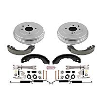KOE15404DK Rear OE Stock Replacement Low-Dust Ceramic Brake Pad, Rotors with Drum + Shoe Kit