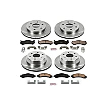 KOE2015 Front and Rear OE Stock Replacement Low-Dust Ceramic Brake Pad and Rotor Kit