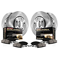 KOE498 Front and Rear OE Stock Replacement Low-Dust Ceramic Brake Pad and Rotor Kit