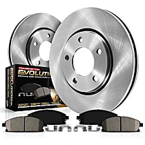 Powerstop Front Brake Disc and Pad Kit - Autospecialty Replacement 2-Wheel Set, RWD Models With 4-Wheel ABS, With 9 in. or 10 in. Rear Drum