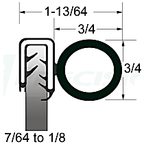 Precision Parts Weatherstrip Seal - UWS 133-25 - Universal Weatherstripping, Universal, Sold individually