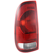 CAPA Certified Driver Side Tail Light, Without bulb(s) - Clear & Red Lens, Styleside