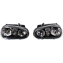 Driver and Passenger Side Headlight, Without bulb(s) - Clear Lens, Black Interior