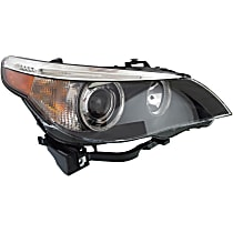 Passenger Side HID/Xenon Headlight, Without bulb(s) - Models With Auto Adjust Clear Lens, Black Interior