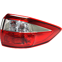 Passenger Side, Outer Tail Light, With bulb(s) - Red Lens