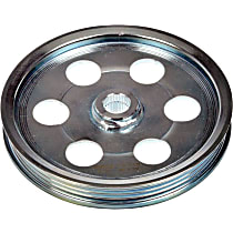 Power Steering Pump Pulley - Chrome, Steel, Serpentine, Direct Fit, Sold individually