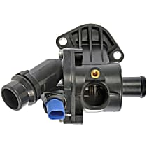Thermostat Housing - Black, Plastic, Direct Fit, Sold individually