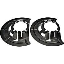 924-491 Brake Dust Shields - Black, Steel, Direct Fit Front, Driver or Passenger Side, Set of 2