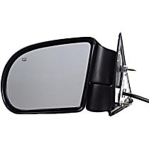 Driver Side Heated Mirror - Power Glass, Power Folding, Black