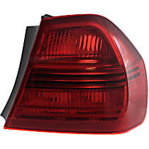 Passenger Side, Outer Tail Light, Without bulb(s) - Red Lens, Sedan