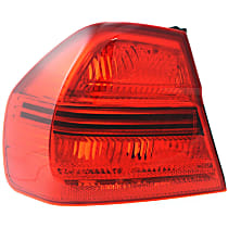 Driver Side, Outer Tail Light, Without bulb(s) - Red Lens, Sedan
