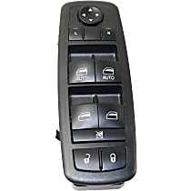 Window Switch - Front, Driver Side, Black, 10-Button, Works only with Driver and Passenger Auto Down Equipped Vehicles