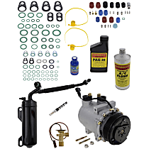 Item Auto A/C Compressor Kit - REPFD191128 - Includes New Compressor, w/6-Groove Pulley, Gas, w/Rear Air