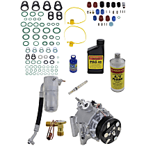Item Auto A/C Compressor Kit - REPI191108 - Includes New Compressor, w/6-Groove Pulley, 6cyl, w/Rear Air