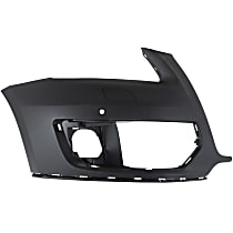 Front, Passenger Side Bumper Cover, Primed - w/o S-Line Pkg, w/ Parking Aid Sensor Holes
