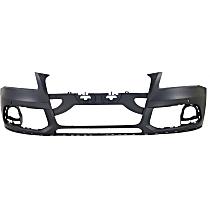 Front Bumper Cover, Primed - w/o S-Line Pkg, w/o Headlight Washer Holes, w/ Parking Aid Sensor Holes