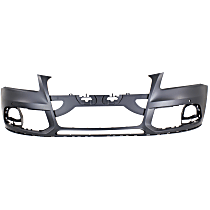 Front Bumper Cover, Primed - w/o S-Line Pkg, w/o Headlight Washer Holes, w/ Parking Aid Sensor Holes, CAPA CERTIFIED
