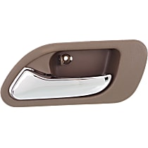 Rear, Driver Side Interior Door Handle, Brown bezel with chrome lever