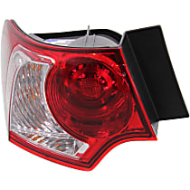 Driver Side, Outer Tail Light, With bulb(s) - Clear & Red Lens, Sedan