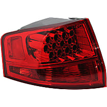 Driver Side, Outer Tail Light, Without bulb(s) - Red Lens