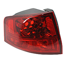 Driver Side, Outer Tail Light, Without bulb(s) - Red Lens, CAPA CERTIFIED