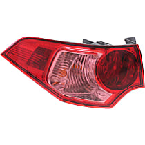 Driver Side, Outer Tail Light, With bulb(s) - Red Lens, Sedan
