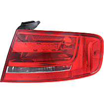 Passenger Side, Outer Tail Light, Without bulb(s) - Clear & Red Lens, Sedan