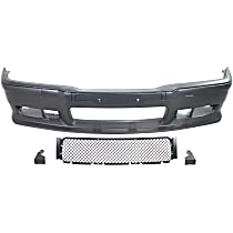 Front Bumper Cover, Primed - Sport Upgrade Kit, M3 Style, w/ Bumper Strips & Tow